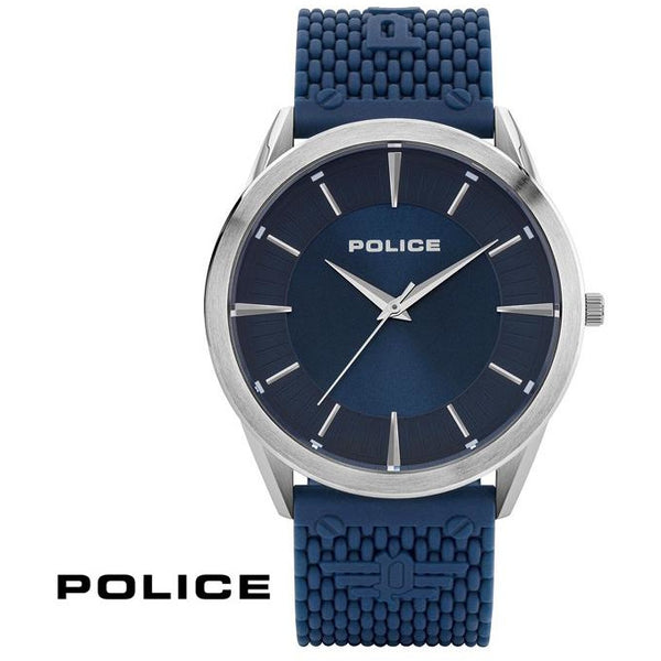 POLICE: PATRIOT BLUE RUBBER STRAP WATCH