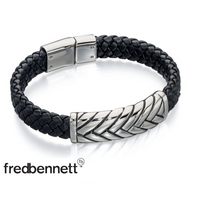 FRED BENNETT PLATTED BLACK LEATHER BRACELET