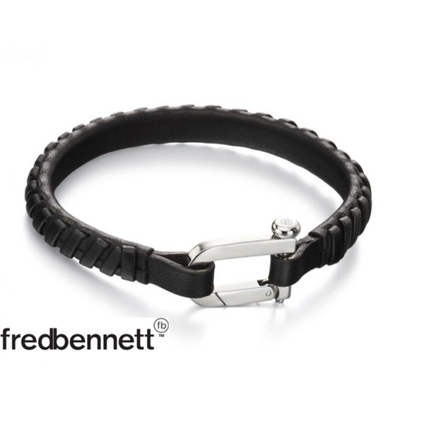 FRED BENNETT BLACK WOVEN LEATHER BRACELET
