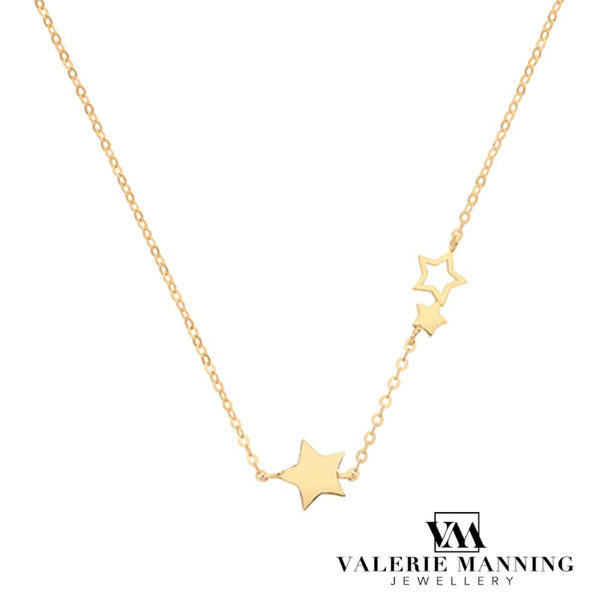 VMJ GOLD: 9CT GOLD TRAIL OF STARS NECKLET
