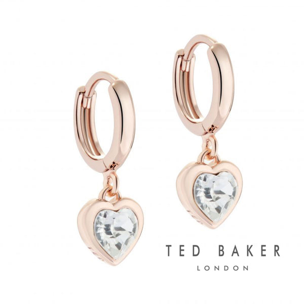 CRYSTAL HEART: ROSE GOLD CRYSTAL HEART CHARM EARRINGS