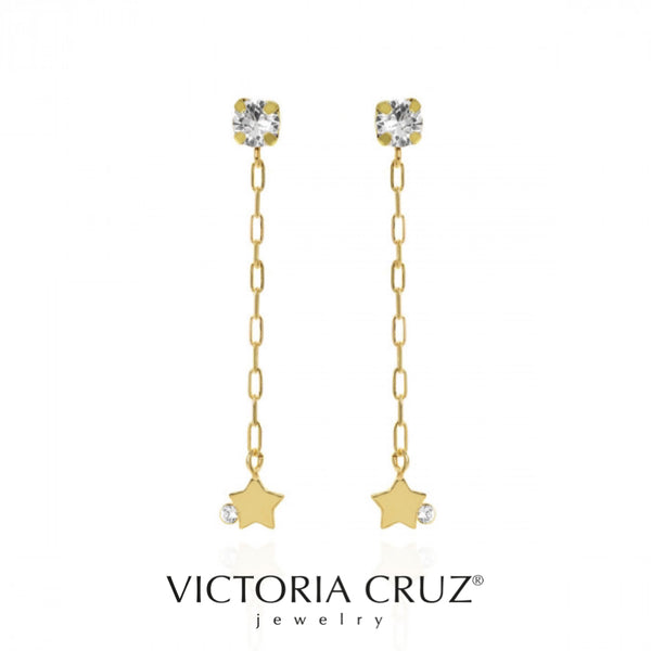 VICTORIA CRUZ: GOLD ESTRELLA CRYSTAL EARRINGS