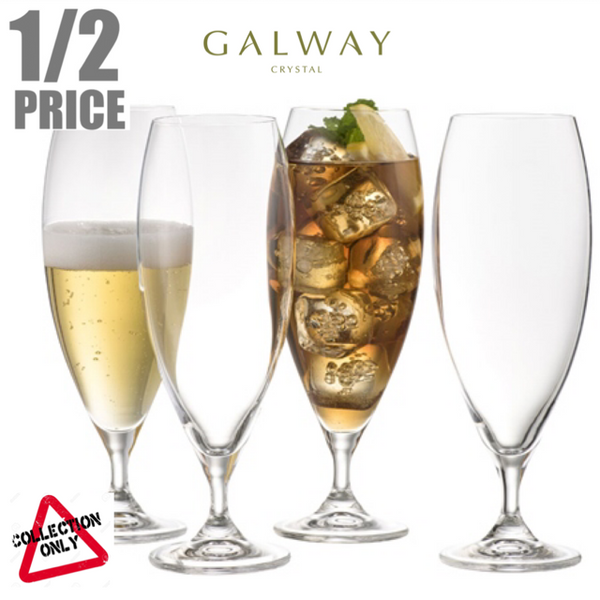 GALWAY CRYSTAL: CLARITY BEER / ICE TEA (SET OF 4)