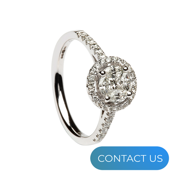 DIAMONDS @ VMJ: ROUND HALO CLUSTER RING WITH DIAMOND SHOULDERS