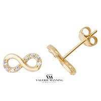 VMJ GOLD: 9CT GOLD CZ INFINITY STUD EARRINGS