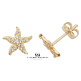 VMJ GOLD: 9CT GOLD CZ STAR STUD EARRINGS