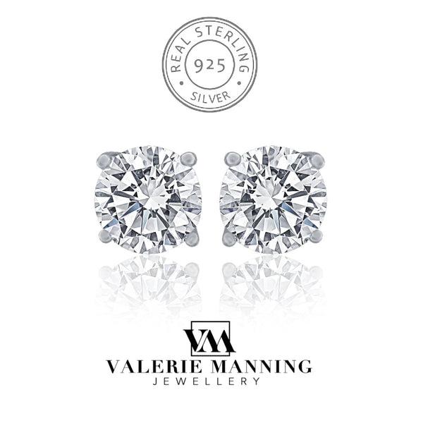 STERLING SILVER CZ STUD EARRINGS (VARIOUS SIZES)