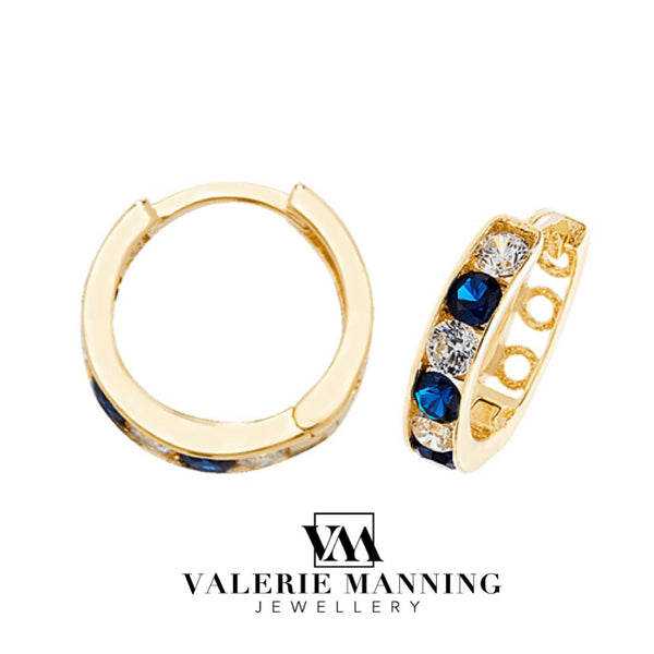 VMJ GOLD: 9CT GOLD HUGGIE CZ SAPPHIRE EARRINGS