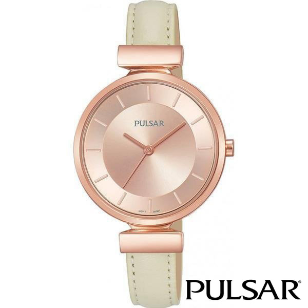 PULSAR: LADIES LEATHER DRESS WATCH ROSE TRIM