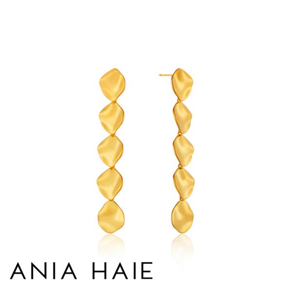 ANIA HAIE: STERLING SILVER GOLD CRUSH MULTI DROP DISC EARRINGS