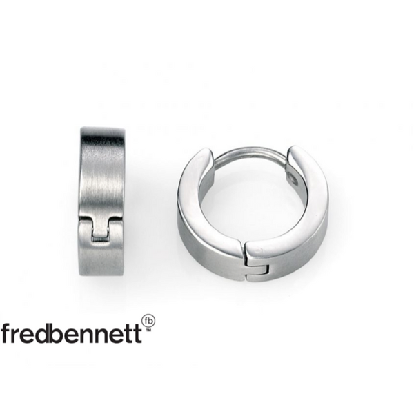 FRED BENNETT STAINLESS STEEL BRUSHED HUGGIE EARRINGS