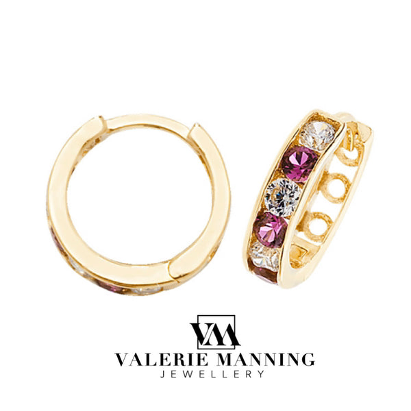 VMJ GOLD: 9CT GOLD HUGGIE CZ RUBY EARRINGS