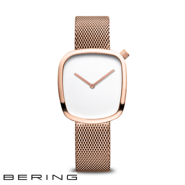 BERING: LADIES POLISHED ROSE GOLD/WHITE