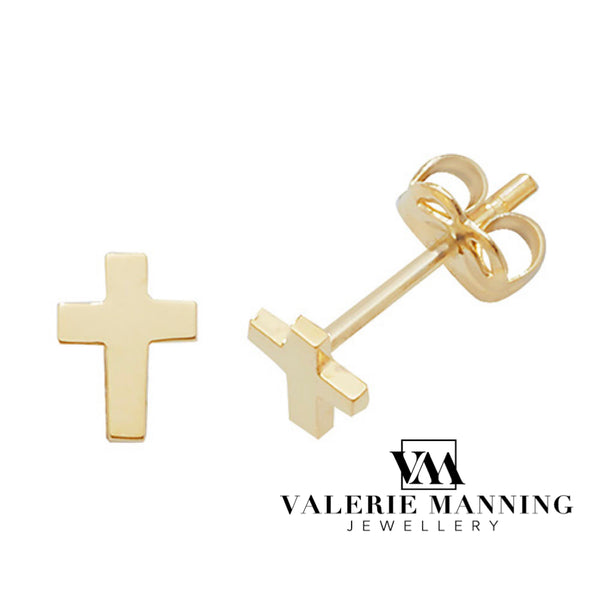 VMJ GOLD: 9CT GOLD PLAIN CROSS STUD EARRINGS