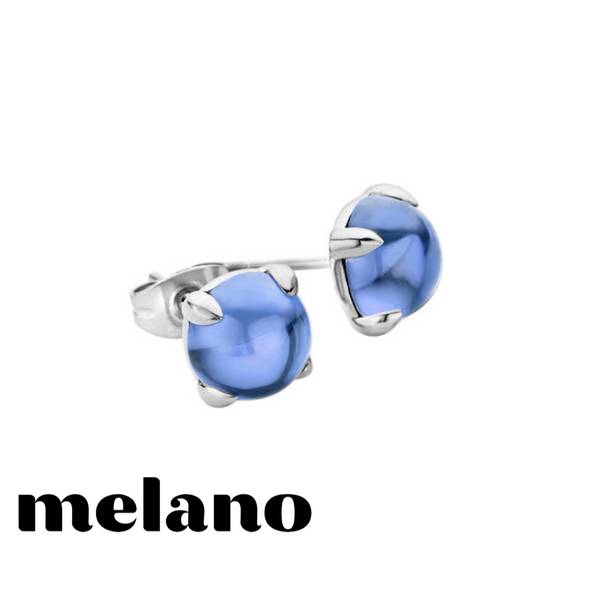 MELANO: SILVER FRIENDS BLUE JEANS STUD EARRINGS