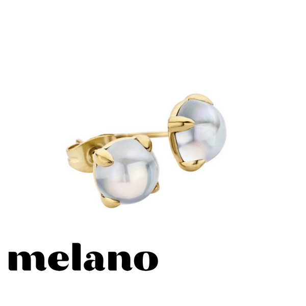 MELANO: GOLD FRIENDS MOONSTONE STUD EARRINGS