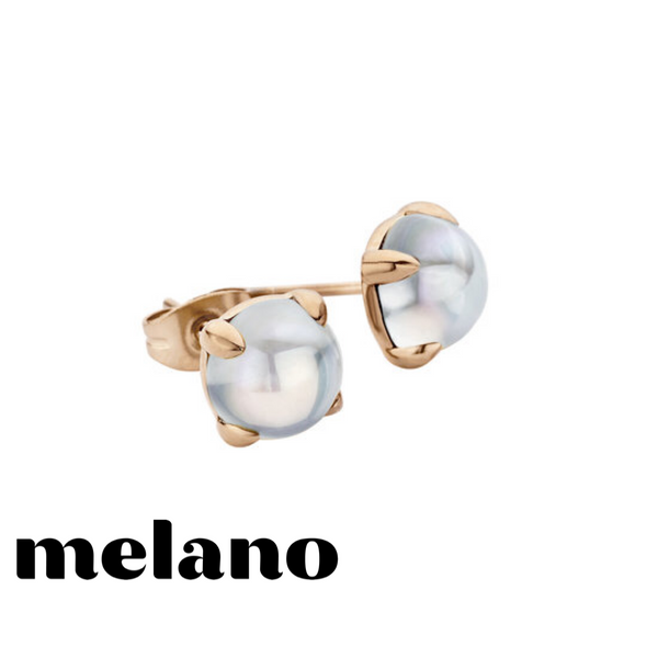 MELANO: ROSE GOLD FRIENDS MOONSTONE STUD EARRINGS