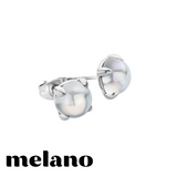 MELANO: SILVER FRIENDS MOONSTONE STUD EARRINGS