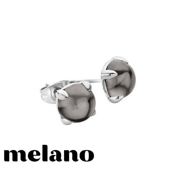 MELANO: SILVER FRIENDS TRANSPARENT BLACK STUD EARRINGS