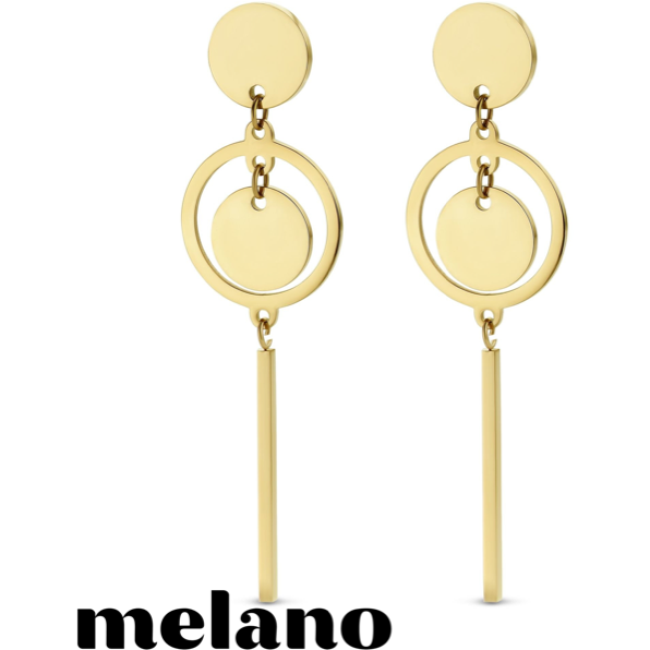 MELANO: GOLD DOUBLE CIRCLE DROP EARRINGS