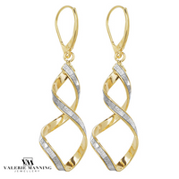 VMJ GOLD: 9CT GOLD CZ SWIRL DROP EARRINGS