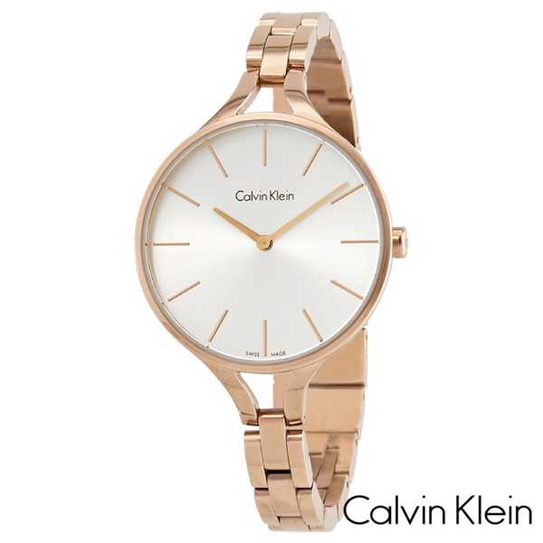 CALVIN KLEIN: GRAPHIC SILVER DIAL BANGLE WATCH