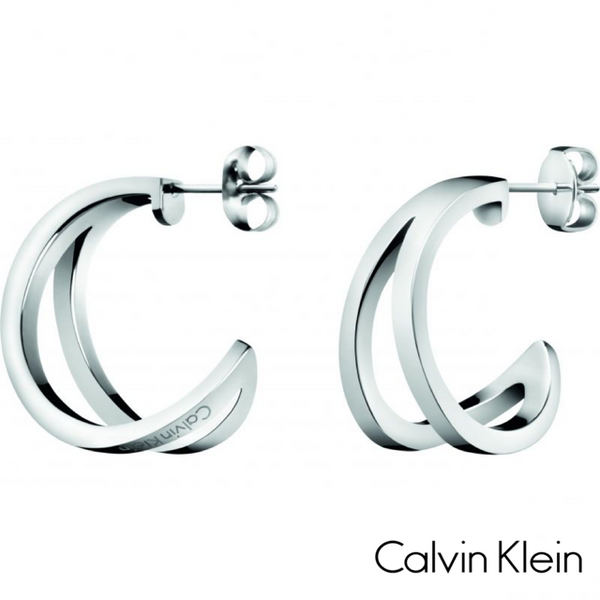 CALVIN KLEIN: SILVER OUTLINE EARRINGS