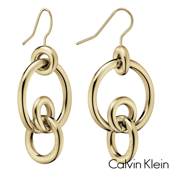 CALVIN KLEIN: GOLD CLINK EARRINGS