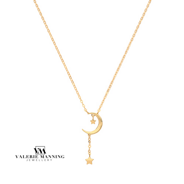 VMJ GOLD: 9CT GOLD CZ DROP MOON NECKLACE
