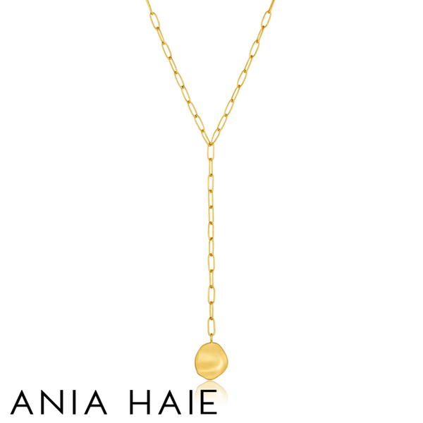 ANIA HAIE: STERLING SILVER GOLD CRUSH DISC Y NECKLACE