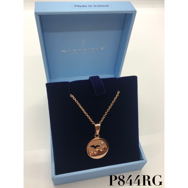 NEWBRIDGE SILVERWARE: ROSE GOLD PLATE SMALL OCEAN PENDANT