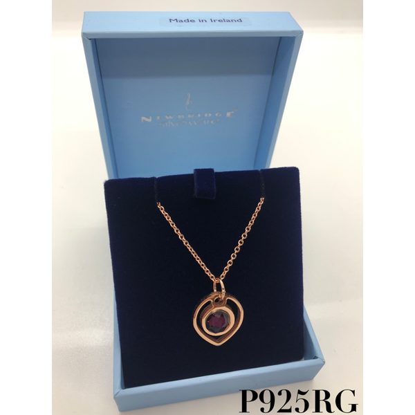 NEWBRIDGE SILVERWARE: ROSE GOLD PLATE PURPLE STONE PENDANT