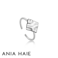 ANIA HAIE: STERLING SILVER CRUSH SQUARE ADJUSTABLE RING