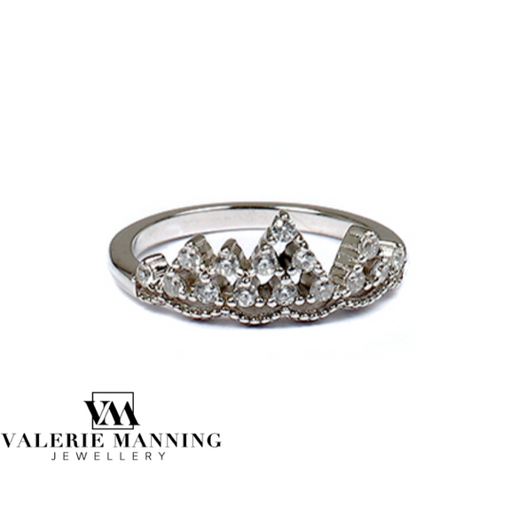 STERLING SILVER CZ TIARA RING
