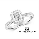DIAMONDS @ VMJ: CUSHION SHAPE CLUSTER RING WITH DIAMOND SHOULDERS