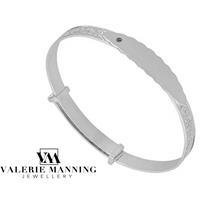 STERLING SILVER CHRISTENING BANGLE WITH CRYSTAL CZ
