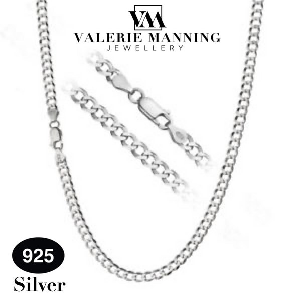 STERLING SILVER GENTS CLASSIC FLAT CURB CHAIN ( LIGHT WEIGHT )  18 INCH