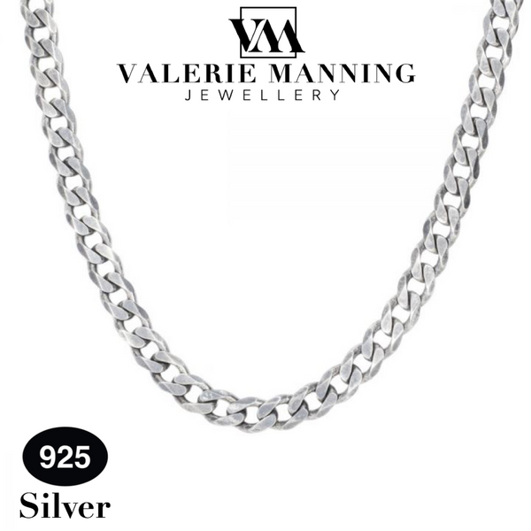 STERLING SILVER GENTS CLASSIC FLAT CURB CHAIN (HEAVY WEIGHT) 18 INCH