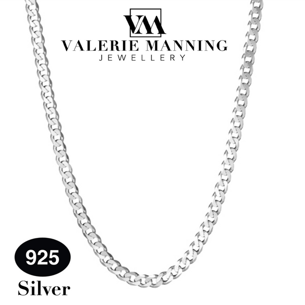 STERLING SILVER GENTS CLASSIC FLAT CURB CHAIN (MEDIUM WEIGHT) 18 INCH