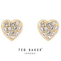PRIMM: GOLD PAVE HEART STUD EARRINGS