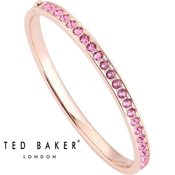CLEMARA: HINGED ROSE GOLD ROSE CRYSTAL BANGLE