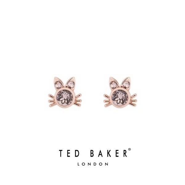 SABRO: ROSE SWAROVSKI CAT STUD EARRINGS