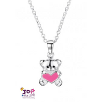 KIDDIES: TEDDY WITH PINK HEART PENDANT
