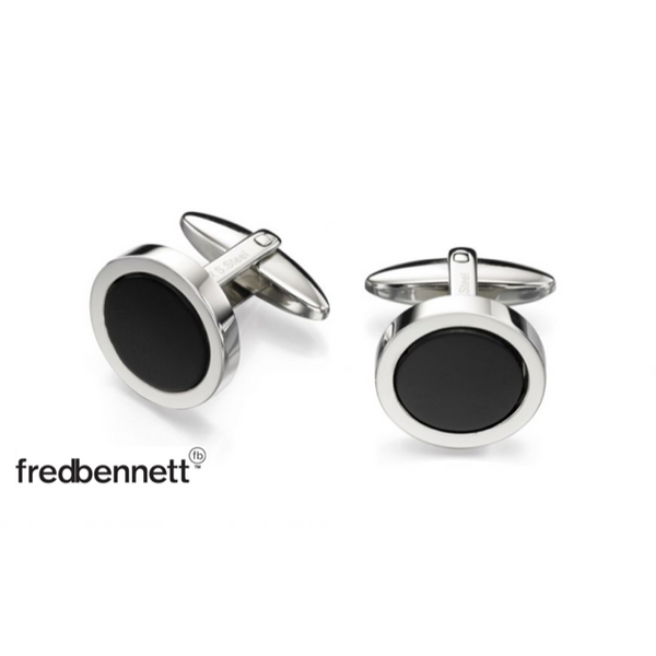 FRED BENNETT BLACK ROUND CUFFLINKS