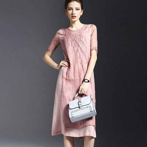 Pale Pink Linen Silk Long Dress
