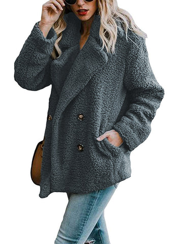 Gray Faux Fur Coat Jacket