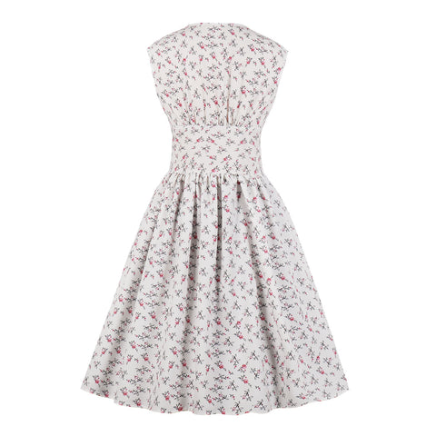 White Vintage Style Floral Dress
