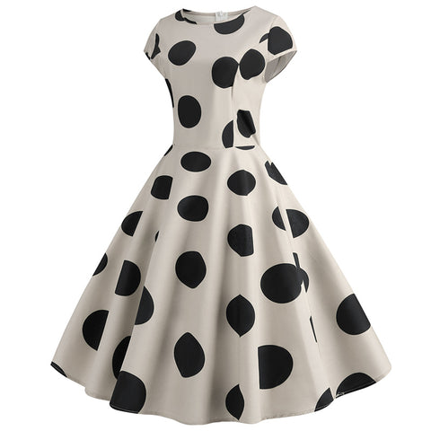 Beige Polka Dot Vintage Dress