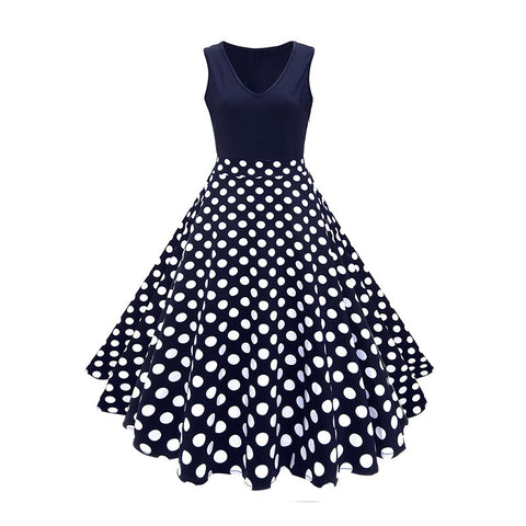 Navy Polka Dot Vintage Dress