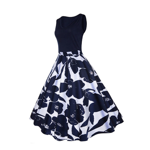Black and White Floral Vintage Dress